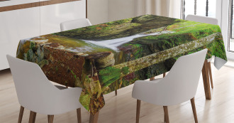 Spring Waterfall Nature Tablecloth