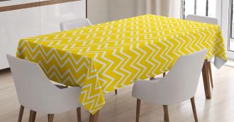 Chevron Pattern Yellow Tablecloth
