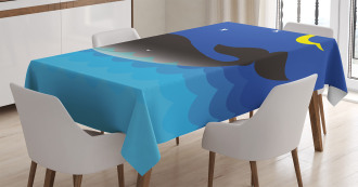 Whale in Ocean and Star Tablecloth