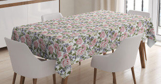 Watercolor Spring Roses Tablecloth