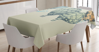 Air Balloons in Sky TableCloth