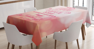 Pink Love Story Tablecloth
