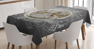 Time Alarm Building Cloud Tablecloth