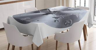 World Map Clock Pattern Tablecloth
