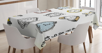 Hand Drawn Vintage Clock Tablecloth