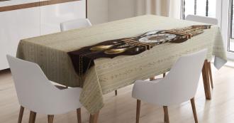 Wood Wall Carving Clock Tablecloth