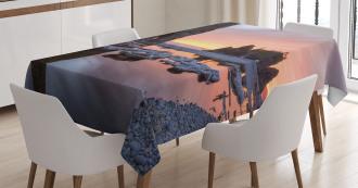Sunset Sea Stacks Beach Tablecloth
