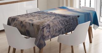 Rocky Sea Shore Trees Tablecloth