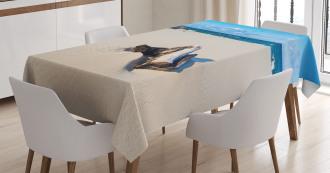 Sandy Sea Shore Digital Tablecloth