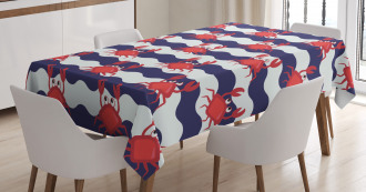 Cute Crabs on Striped Tablecloth