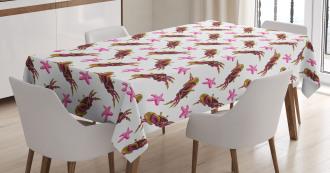 Crabs and Starfish Cartoon Tablecloth