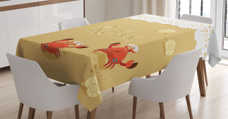 Card with Cute Crabs Sea Tablecloth