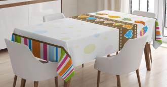 Birds Hearts Stripes Tablecloth