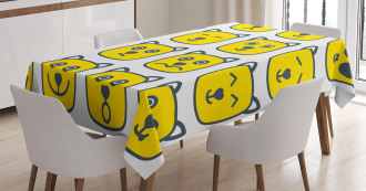 Cat Dog Smiley Expression Tablecloth