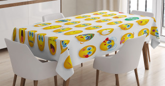 Couple Monster Face Moods Tablecloth