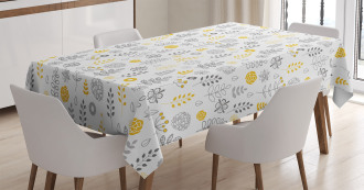 Wild Forest Leaf Flowers Tablecloth