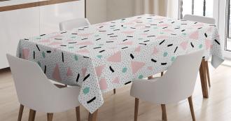 Retro Triangles Dots Tablecloth