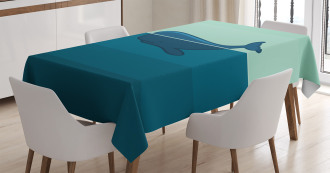 Blue Whale in the Sea Tablecloth