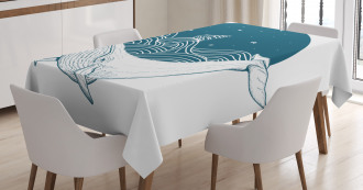 Whale and Stars Old Ship Tablecloth