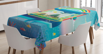 Whale Rainbow Ocean Art Tablecloth