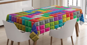 Colorful Blocks Art Tablecloth