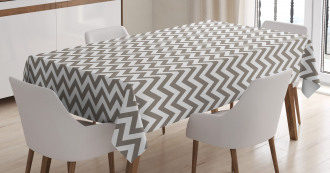 Grey and White Zig Zag Tablecloth