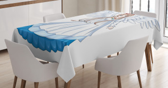 Cartoon with Angel Wings Tablecloth