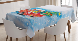 Truck Winter Scenery Tablecloth