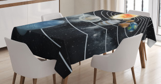 Solar System Sun Planets Tablecloth