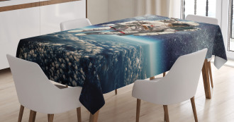 Astronaut Floats Outer Space Tablecloth