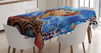Indie Sketch Retro Style Tablecloth