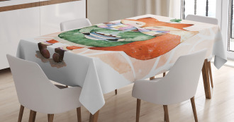 Cute Lİttle Fox and Bird Tablecloth
