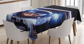 Funny Astronaut Cat Humor Tablecloth