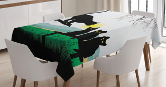 Mother Cat Baby Kittens Tablecloth