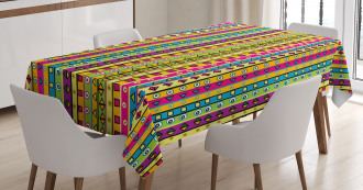 Colored Abstract Stripes Tablecloth
