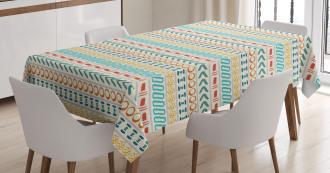 Boho Striped Motif Art Tablecloth