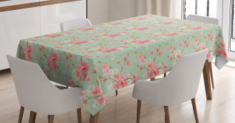 Retro Spring Blossoms Tablecloth