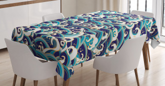 Ocean Waves Pattern Tablecloth