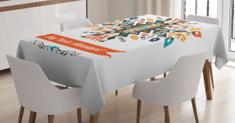 Ethnic Design and Quote Tablecloth