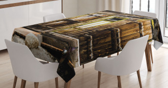Wooden Planks and Rocks Tablecloth
