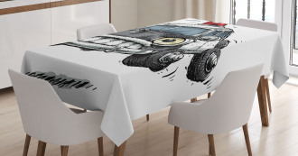 Police Car Art Image Tablecloth