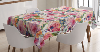 Shabby Chic Rose Floral Tablecloth