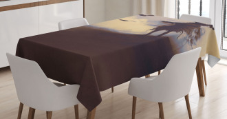 Dark Soul Crows on Hills Tablecloth