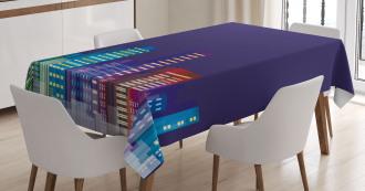 City at Night Cartoon Tablecloth