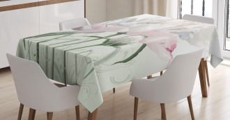 Pink Rose Tulip Abstract Tablecloth