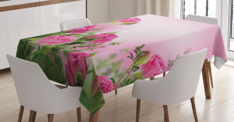 Spring Season Roses Buds Tablecloth