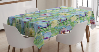 Cactus Buds Types Pattern Tablecloth