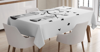 Birds Flying to Cages Tablecloth