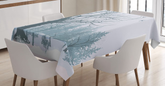 Snowy Forest Trees Birds Tablecloth