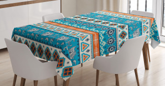 Floral Aztec Art Pattern Tablecloth